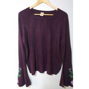 Faded Glory Purple butterfly sleeve Sweater